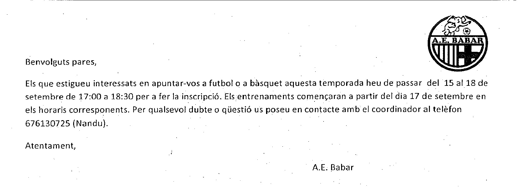 ACTIVITATS EN HORARI NO LECTIU (A.E.BABAR)
