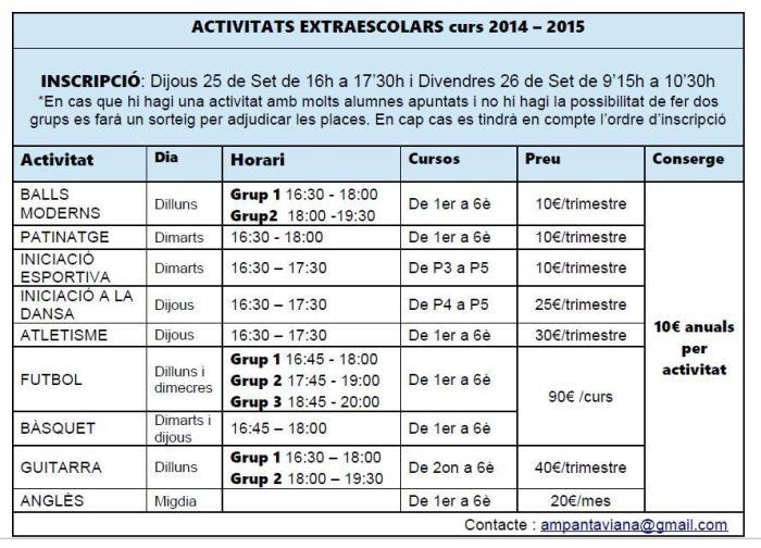 ACTIVITATS EN HORARI NO LECTIU2014-2015