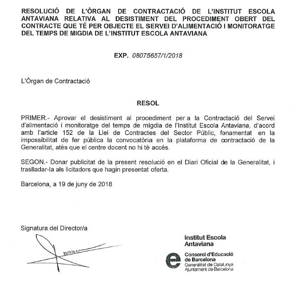 Comunicat desistiment al procediment per a la contractació servei monitoratge icuina